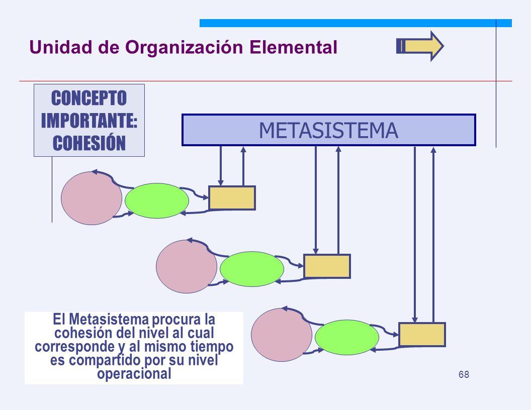 JYS 68 Unidad de Organización Elemental METASISTEMA CONCEPTO IMPORTANTE: COHESIÓN El Metasistema procura la cohesión del nivel al cual corresponde y al mismo tiempo es compartido por su nivel operacional