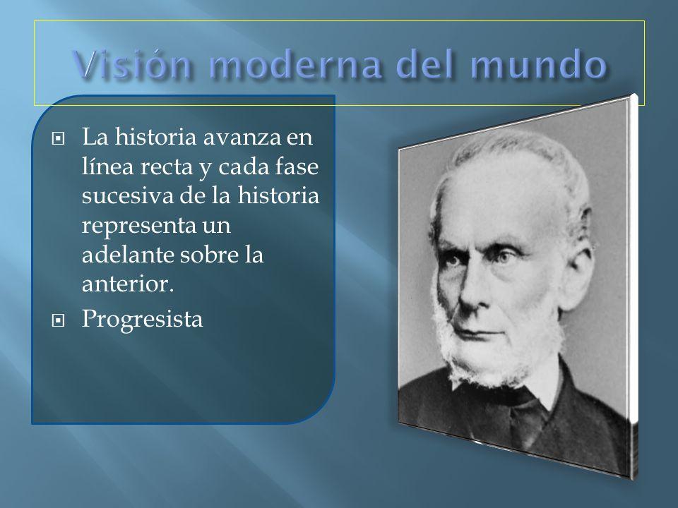 La historia avanza en línea recta y cada fase sucesiva de la historia representa un adelante sobre la anterior. Progresista