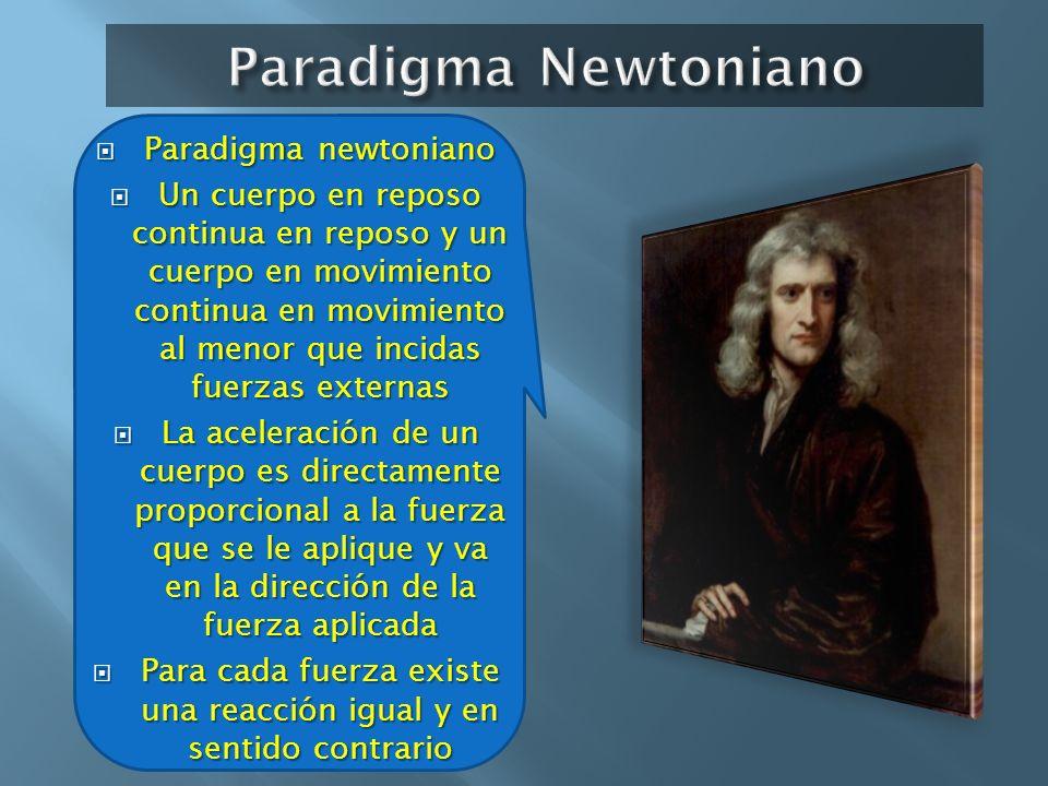 Paradigma newtoniano Paradigma newtoniano Un cuerpo en reposo continua en reposo y un cuerpo en movimiento continua en movimiento al menor que incidas