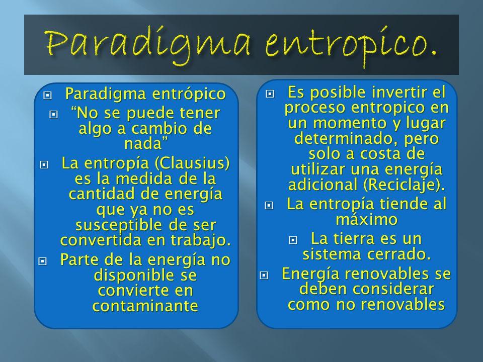 Paradigma entrópico Paradigma entrópico No se puede tener algo a cambio de nada No se puede tener algo a cambio de nada La entropía (Clausius) es la m