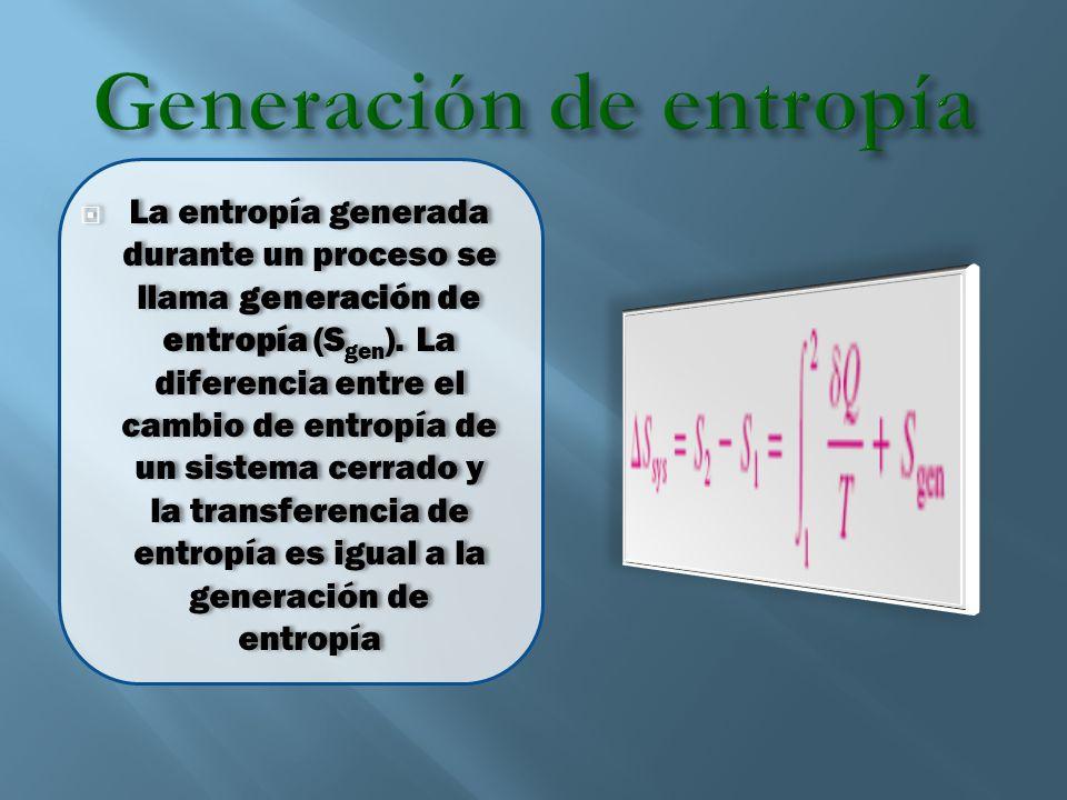 La entropía generada durante un proceso se llama generación de entropía (S gen ). La diferencia entre el cambio de entropía de un sistema cerrado y la