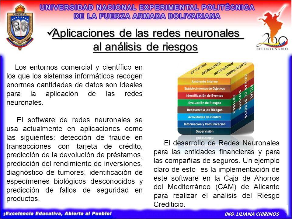 Aplicaciones de las redes neuronales Aplicaciones de las redes neuronales al análisis de riesgos Los entornos comercial y científico en los que los si