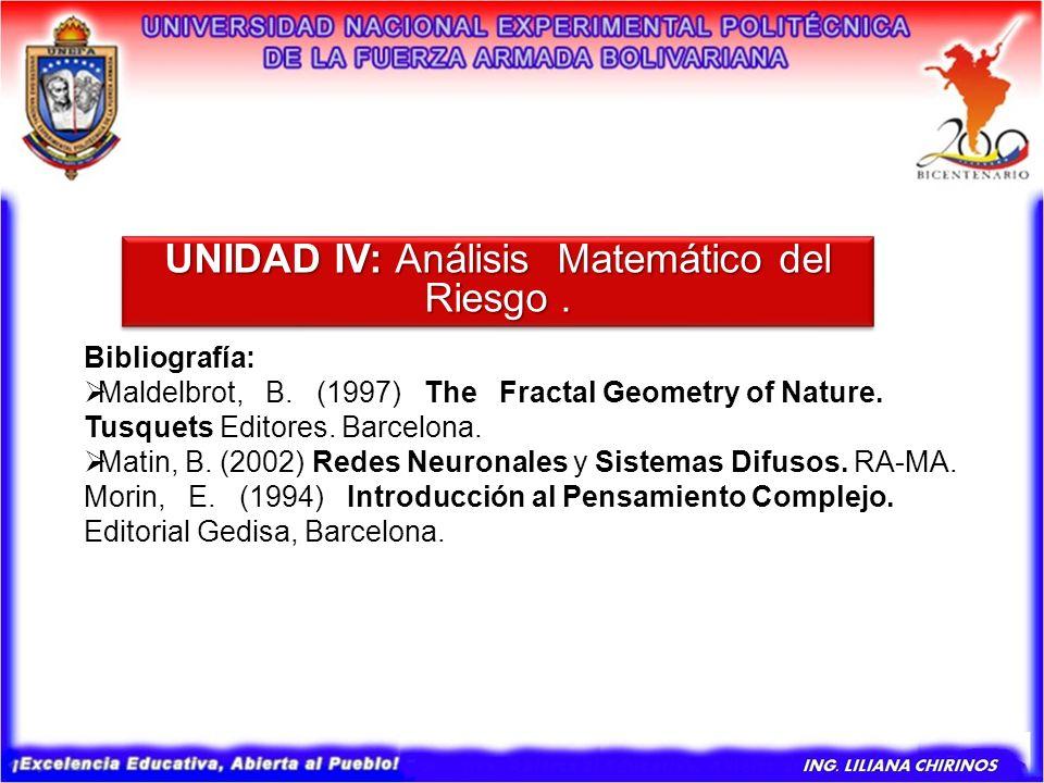 Bibliografía: Maldelbrot, B. (1997) The Fractal Geometry of Nature. Tusquets Editores. Barcelona. Matin, B. (2002) Redes Neuronales y Sistemas Difusos
