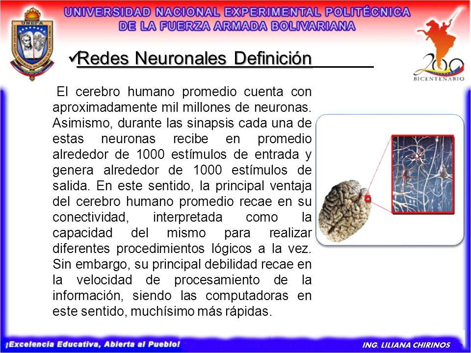 Redes Neuronales Definición Redes Neuronales Definición______ El cerebro humano promedio cuenta con aproximadamente mil millones de neuronas. Asimismo