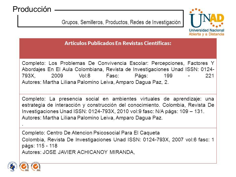 Grupos, Semilleros, Productos, Redes de Investigación Producción Artículos Publicados En Revistas Científicas: Completo: Los Problemas De Convivencia