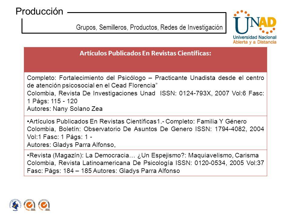Grupos, Semilleros, Productos, Redes de Investigación Producción Artículos Publicados En Revistas Científicas: Completo: Fortalecimiento del Psicólogo