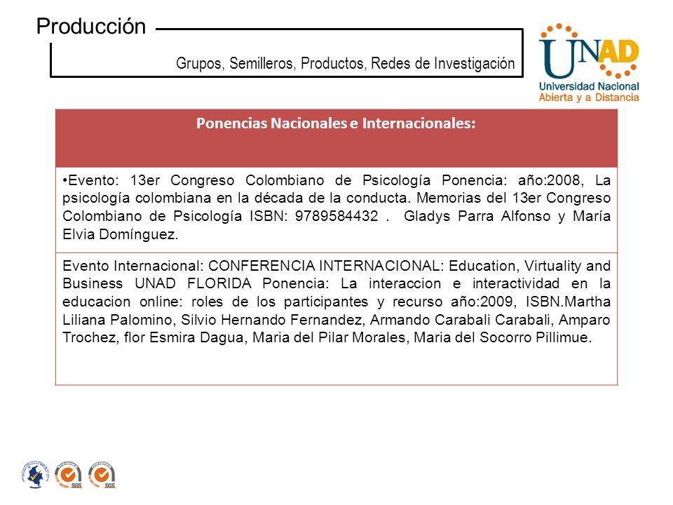 Grupos, Semilleros, Productos, Redes de Investigación Producción Ponencias Nacionales e Internacionales: Evento: 13er Congreso Colombiano de Psicologí