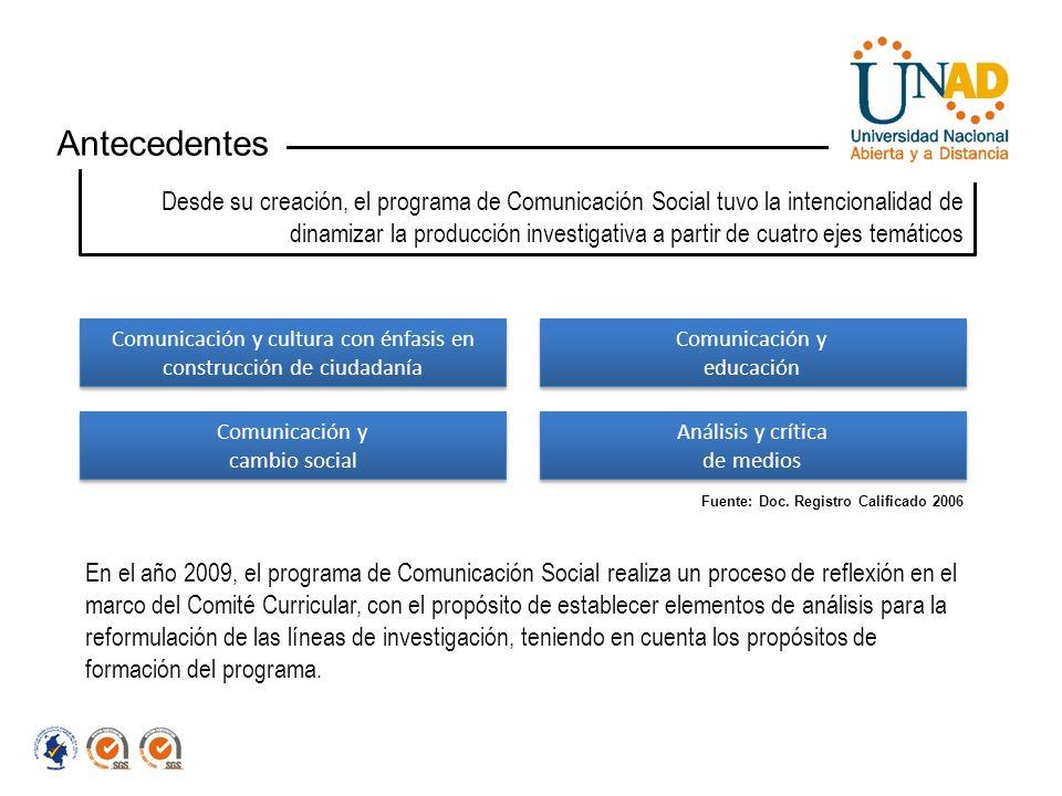Desde su creación, el programa de Comunicación Social tuvo la intencionalidad de dinamizar la producción investigativa a partir de cuatro ejes temátic