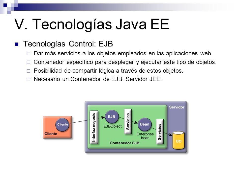V. Tecnologías Java EE Tecnologías Control: EJB Dar más servicios a los objetos empleados en las aplicaciones web. Contenedor específico para desplega