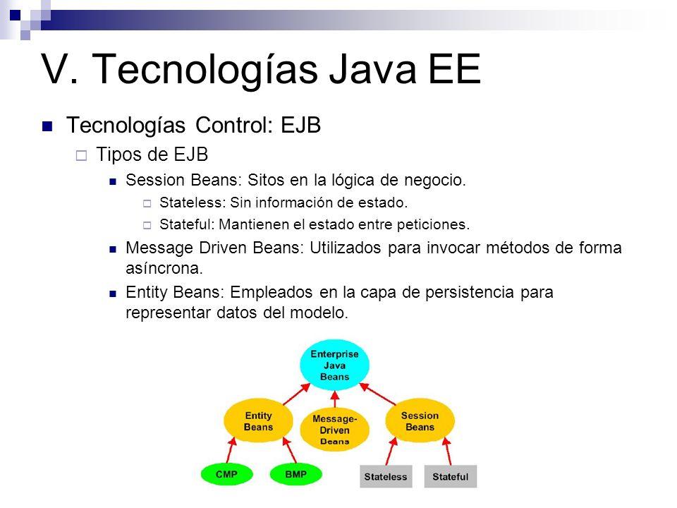V. Tecnologías Java EE Tecnologías Control: EJB Tipos de EJB Session Beans: Sitos en la lógica de negocio. Stateless: Sin información de estado. State