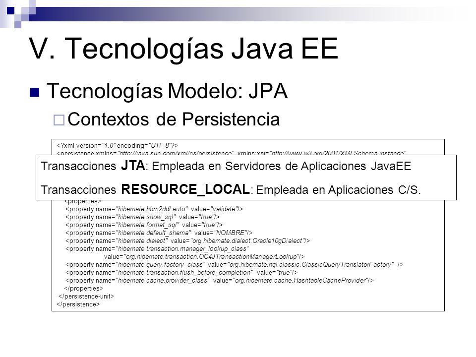 V. Tecnologías Java EE Tecnologías Modelo: JPA Contextos de Persistencia <persistence xmlns=