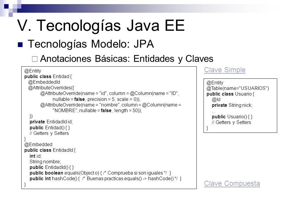 V. Tecnologías Java EE Tecnologías Modelo: JPA Anotaciones Básicas: Entidades y Claves @Entity public class Entidad { @EmbeddedId @AttributeOverrides(