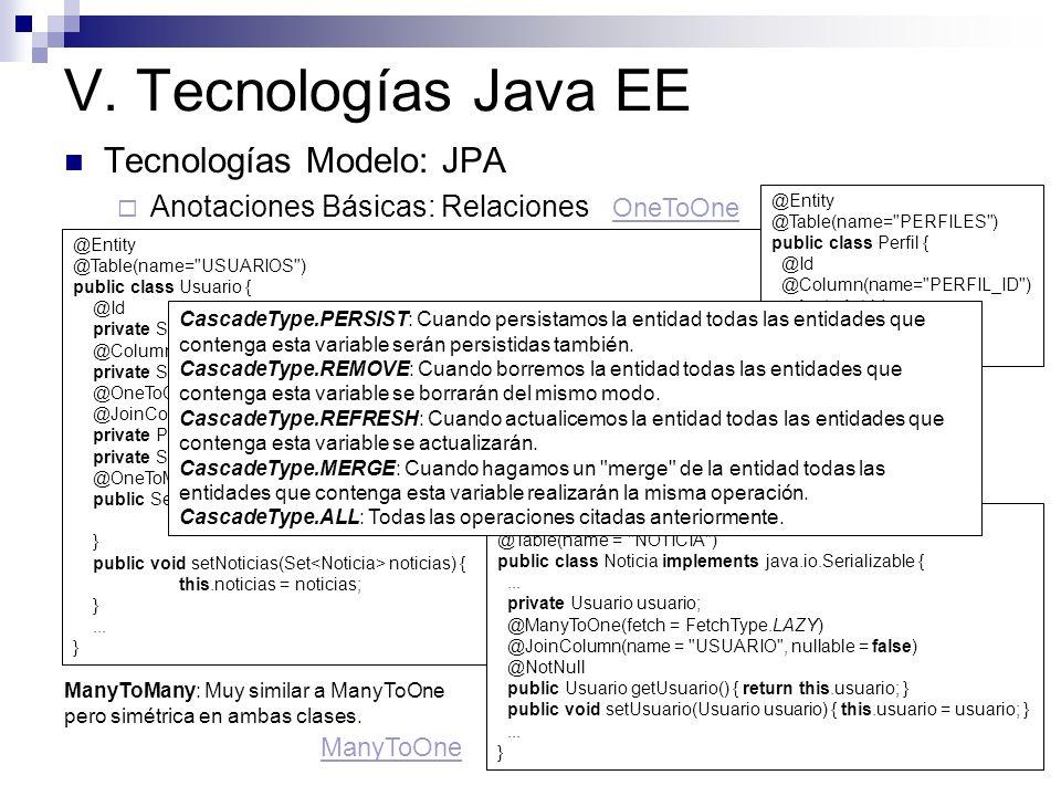 V. Tecnologías Java EE Tecnologías Modelo: JPA Anotaciones Básicas: Relaciones @Entity @Table(name=