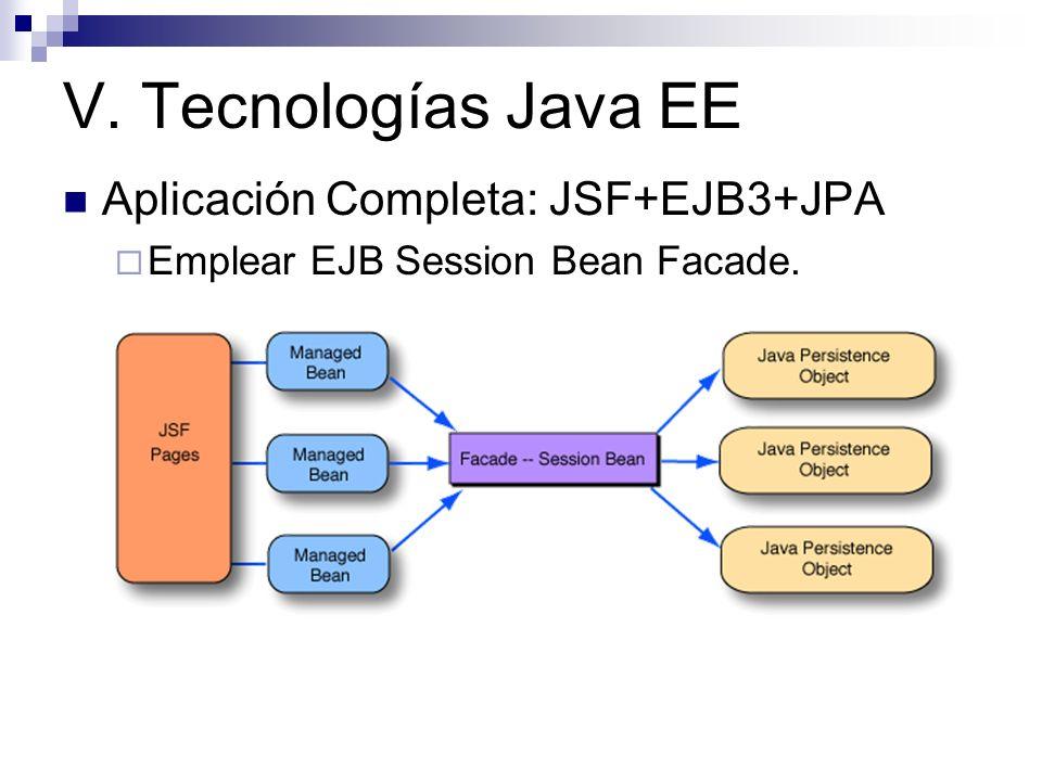 V. Tecnologías Java EE Aplicación Completa: JSF+EJB3+JPA Emplear EJB Session Bean Facade.