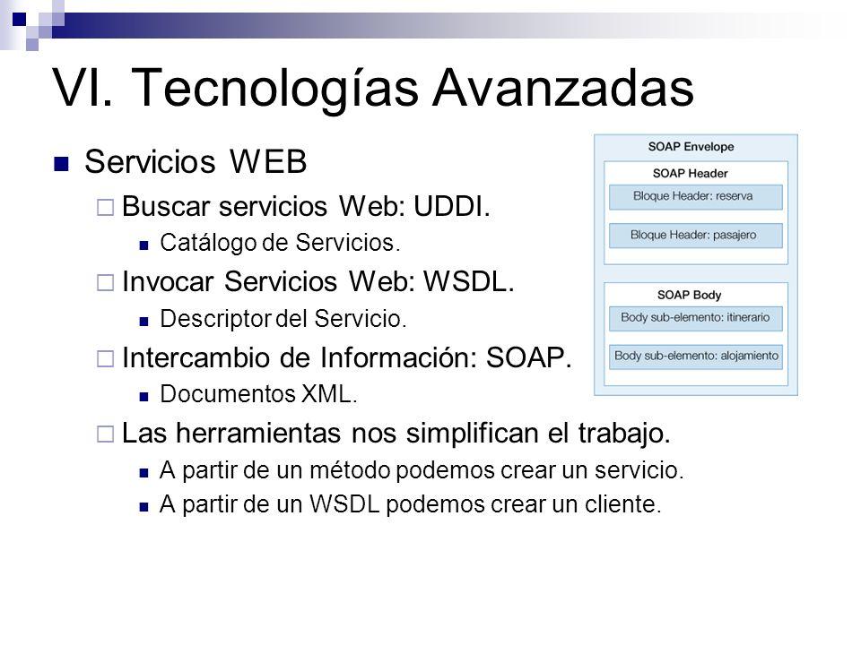 VI. Tecnologías Avanzadas Servicios WEB Buscar servicios Web: UDDI. Catálogo de Servicios. Invocar Servicios Web: WSDL. Descriptor del Servicio. Inter
