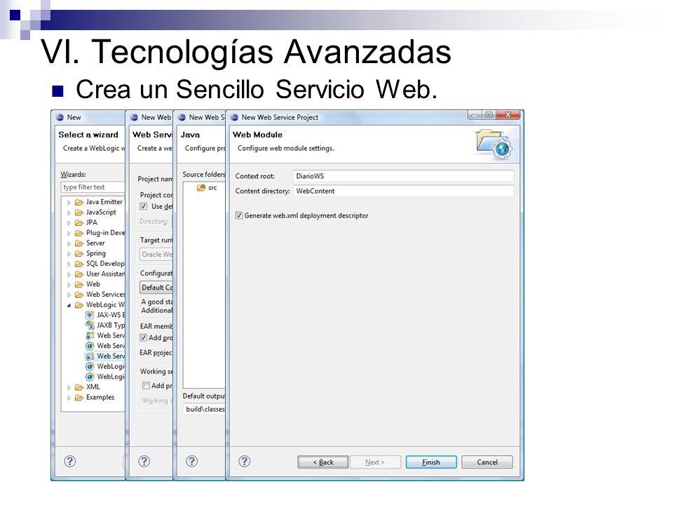 VI. Tecnologías Avanzadas Crea un Sencillo Servicio Web.