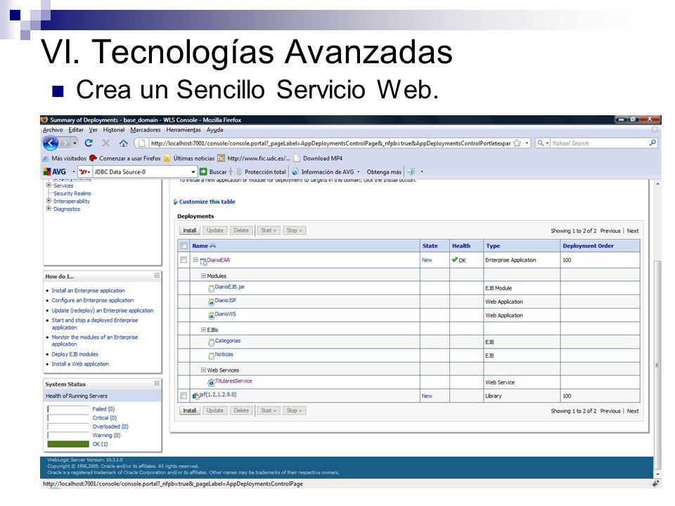 VI. Tecnologías Avanzadas Crea un Sencillo Servicio Web. @WebService public class Titulares { @EJB private NoticiasLocal misNoticias; @WebMethod publi