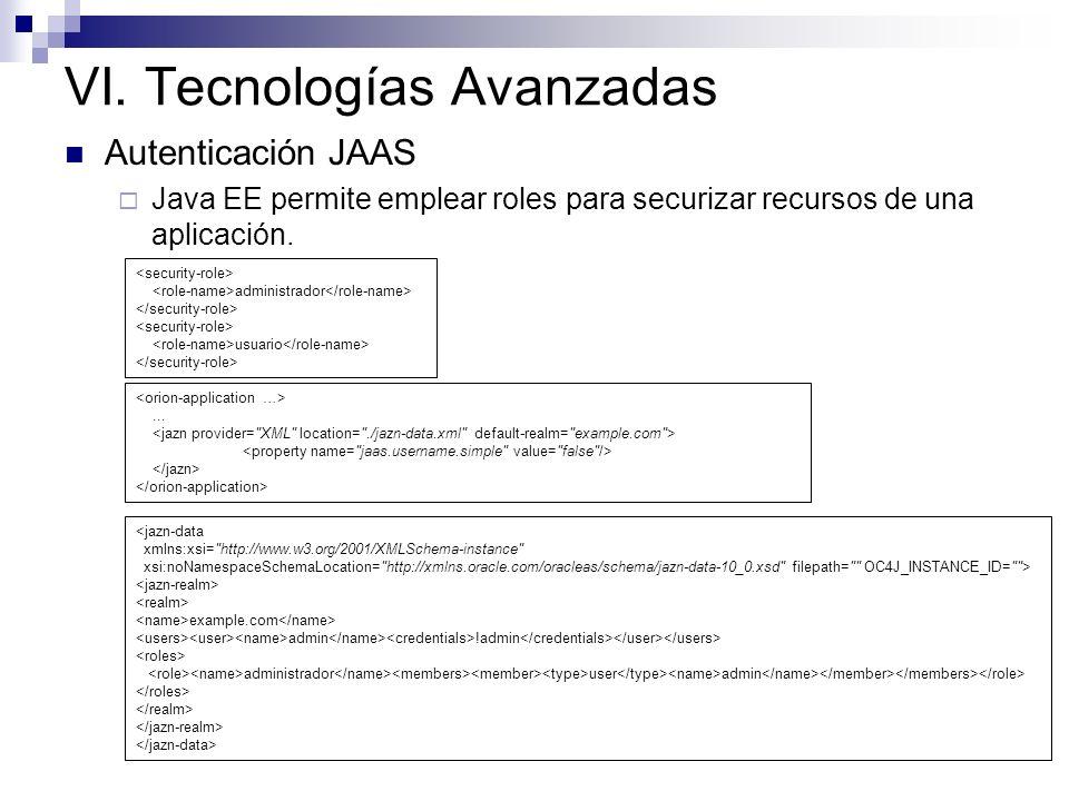 VI. Tecnologías Avanzadas Autenticación JAAS Java EE permite emplear roles para securizar recursos de una aplicación. administrador usuario <jazn-data