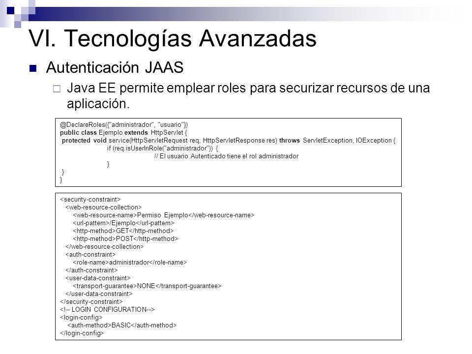VI. Tecnologías Avanzadas Autenticación JAAS Java EE permite emplear roles para securizar recursos de una aplicación. @DeclareRoles({