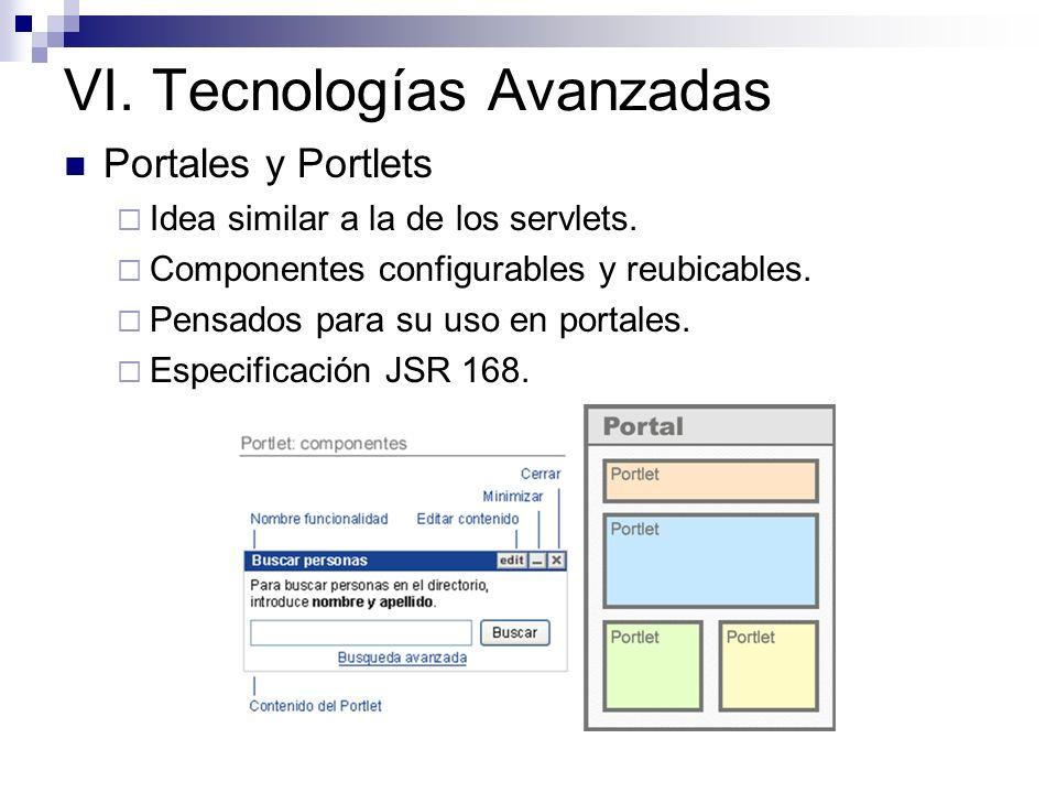 VI. Tecnologías Avanzadas Portales y Portlets Idea similar a la de los servlets. Componentes configurables y reubicables. Pensados para su uso en port