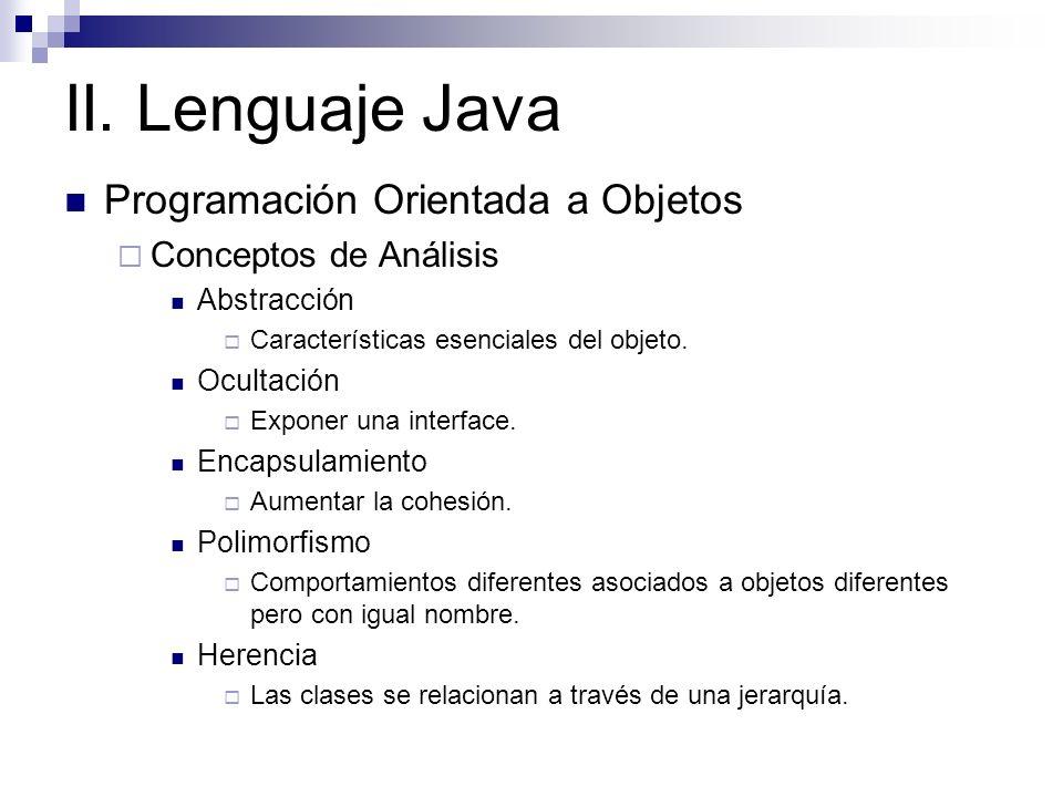 II. Lenguaje Java Programación Orientada a Objetos Conceptos de Análisis Abstracción Características esenciales del objeto. Ocultación Exponer una int