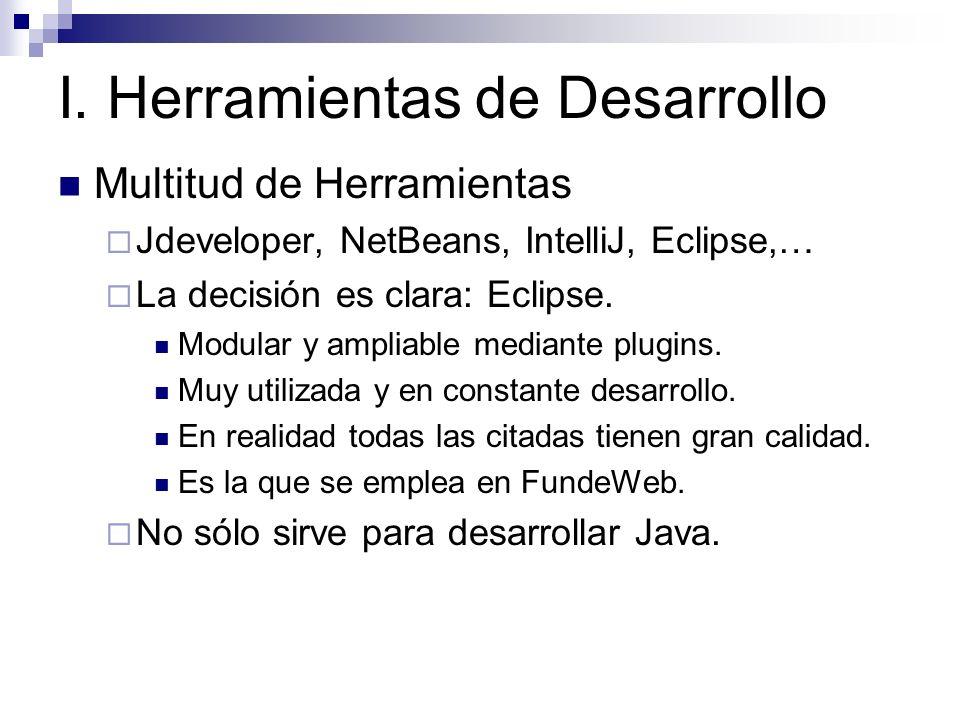Multitud de Herramientas Jdeveloper, NetBeans, IntelliJ, Eclipse,… La decisión es clara: Eclipse. Modular y ampliable mediante plugins. Muy utilizada