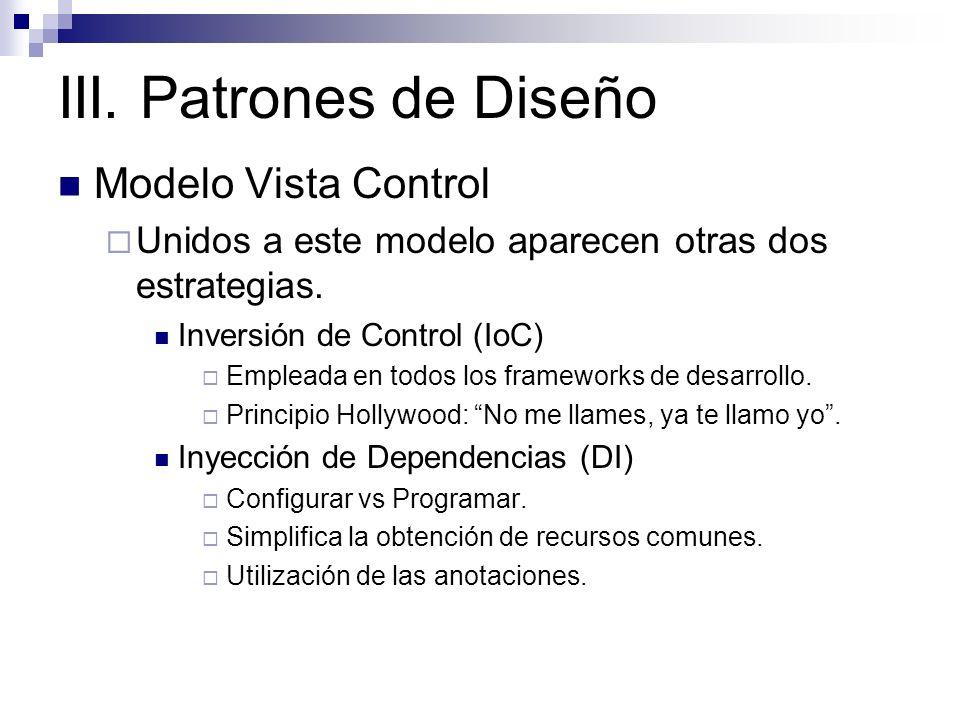 III. Patrones de Diseño Modelo Vista Control Unidos a este modelo aparecen otras dos estrategias. Inversión de Control (IoC) Empleada en todos los fra