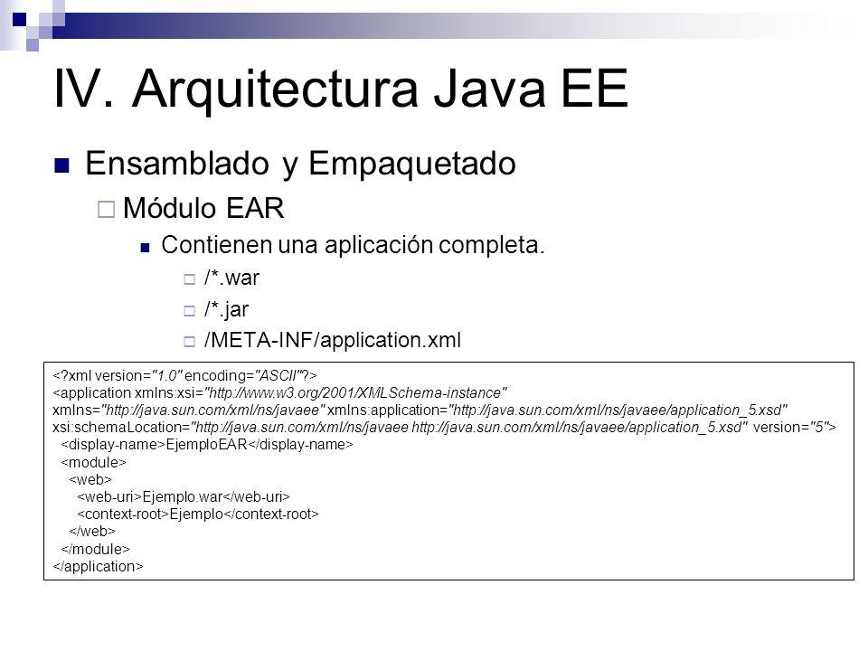 IV. Arquitectura Java EE Ensamblado y Empaquetado Módulo EAR Contienen una aplicación completa. /*.war /*.jar /META-INF/application.xml <application x