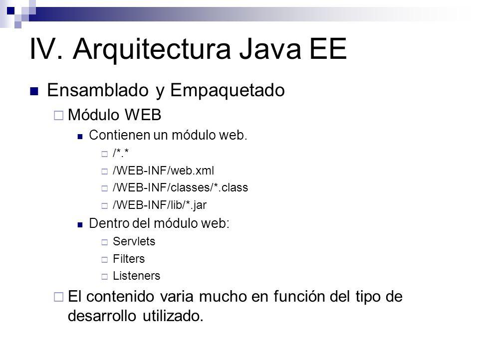 IV. Arquitectura Java EE Ensamblado y Empaquetado Módulo WEB Contienen un módulo web. /*.* /WEB-INF/web.xml /WEB-INF/classes/*.class /WEB-INF/lib/*.ja
