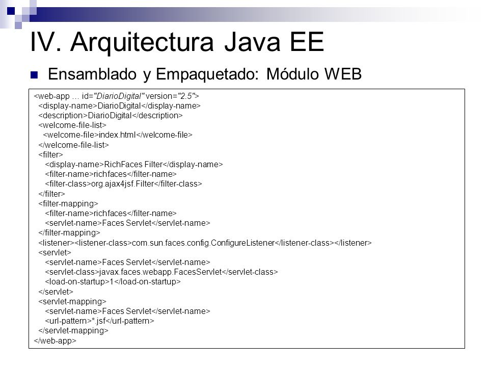 IV. Arquitectura Java EE Ensamblado y Empaquetado: Módulo WEB DiarioDigital index.html RichFaces Filter richfaces org.ajax4jsf.Filter richfaces Faces