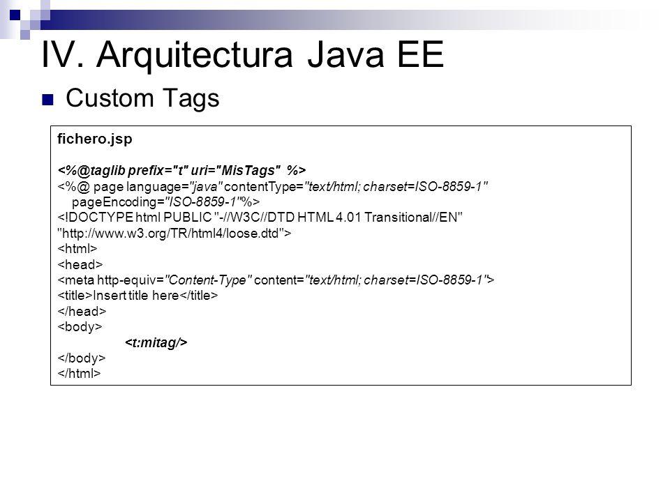 IV. Arquitectura Java EE Custom Tags package tag; import javax.servlet.jsp.tagext.*; import javax.servlet.jsp.*; public class MiTag extends SimpleTagS