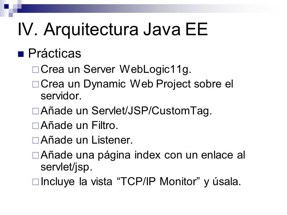 IV. Arquitectura Java EE Prácticas Crea un Server WebLogic11g. Crea un Dynamic Web Project sobre el servidor. Añade un Servlet/JSP/CustomTag. Añade un
