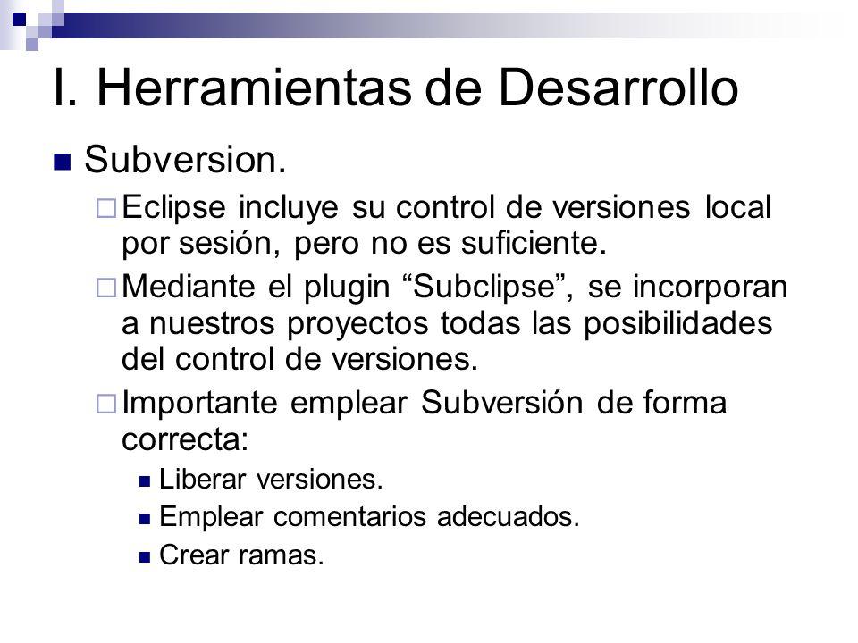 I. Herramientas de Desarrollo Subversion. Eclipse incluye su control de versiones local por sesión, pero no es suficiente. Mediante el plugin Subclips