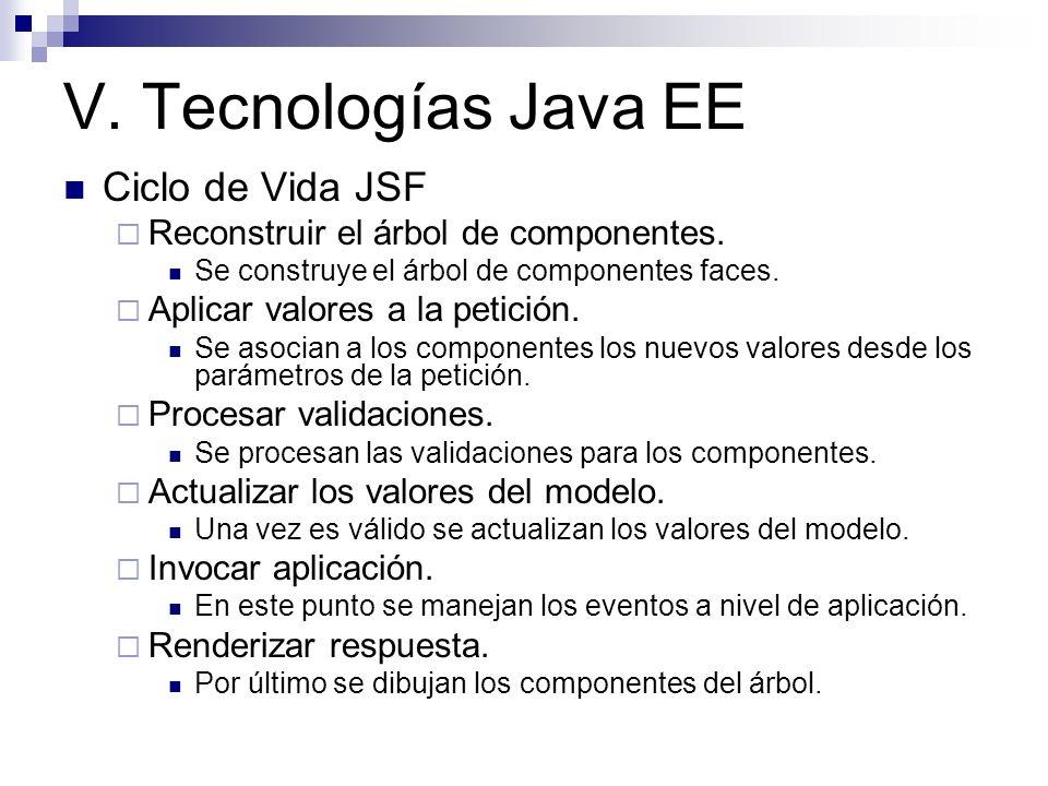 V. Tecnologías Java EE Ciclo de Vida JSF Reconstruir el árbol de componentes. Se construye el árbol de componentes faces. Aplicar valores a la petició