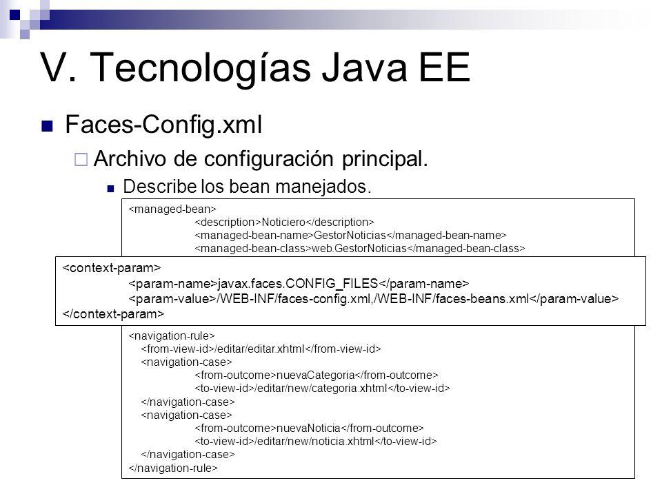 V. Tecnologías Java EE Faces-Config.xml Archivo de configuración principal. Describe los bean manejados. Describe las reglas de navegación. Noticiero