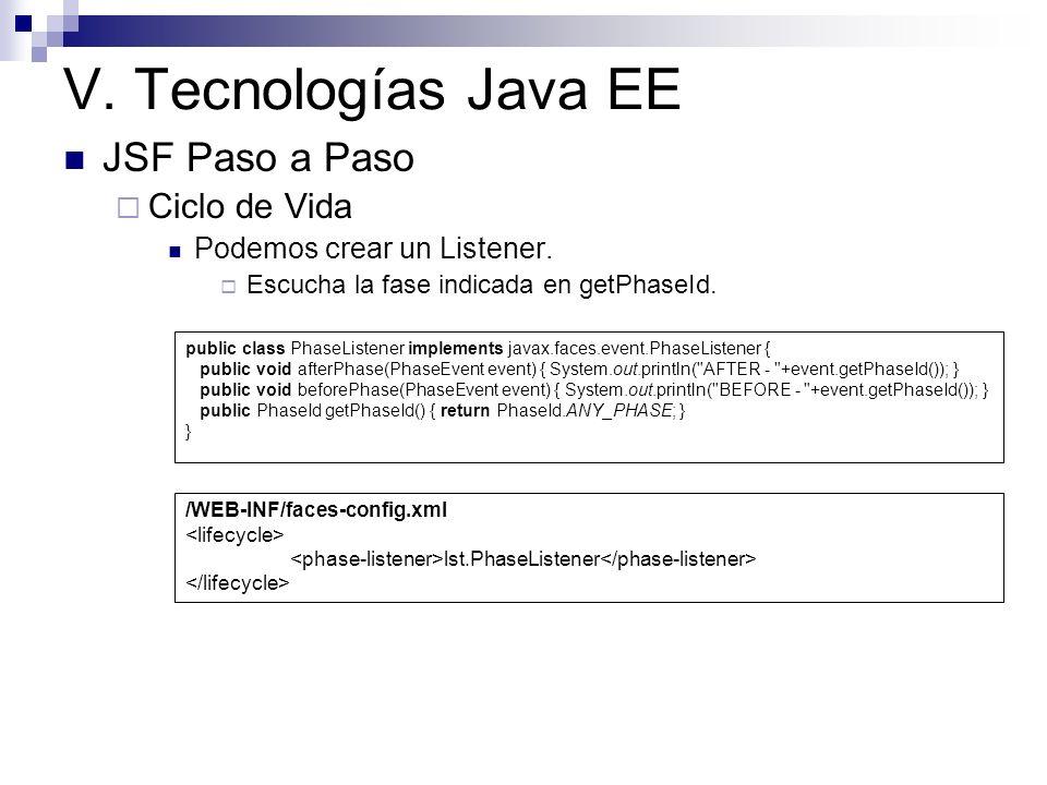 V. Tecnologías Java EE JSF Paso a Paso Ciclo de Vida Podemos crear un Listener. Escucha la fase indicada en getPhaseId. public class PhaseListener imp