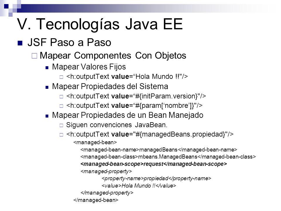 V. Tecnologías Java EE JSF Paso a Paso Mapear Componentes Con Objetos Mapear Valores Fijos Mapear Propiedades del Sistema Mapear Propiedades de un Bea
