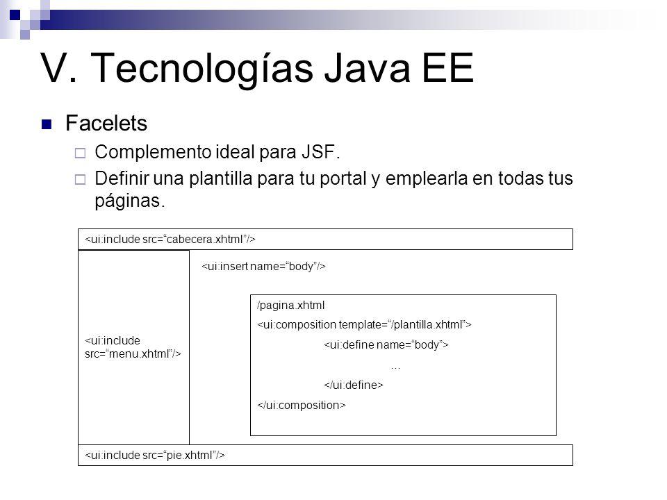 V. Tecnologías Java EE Facelets Complemento ideal para JSF. Definir una plantilla para tu portal y emplearla en todas tus páginas. /pagina.xhtml …