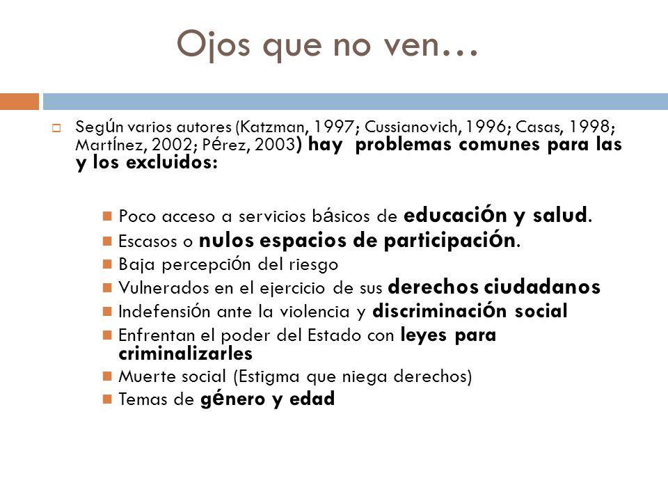 Ojos que no ven… Seg ú n varios autores (Katzman, 1997; Cussianovich, 1996; Casas, 1998; Mart í nez, 2002; P é rez, 2003 ) hay problemas comunes para