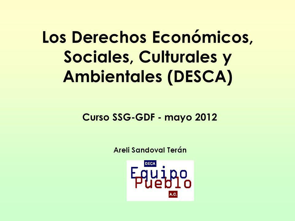 Los Derechos Económicos, Sociales, Culturales y Ambientales (DESCA) Curso SSG-GDF - mayo 2012 Areli Sandoval Terán