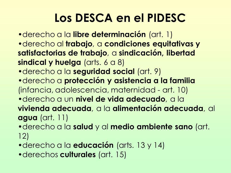 Los DESCA en el PIDESC derecho a la libre determinación (art. 1) derecho al trabajo, a condiciones equitativas y satisfactorias de trabajo, a sindicac