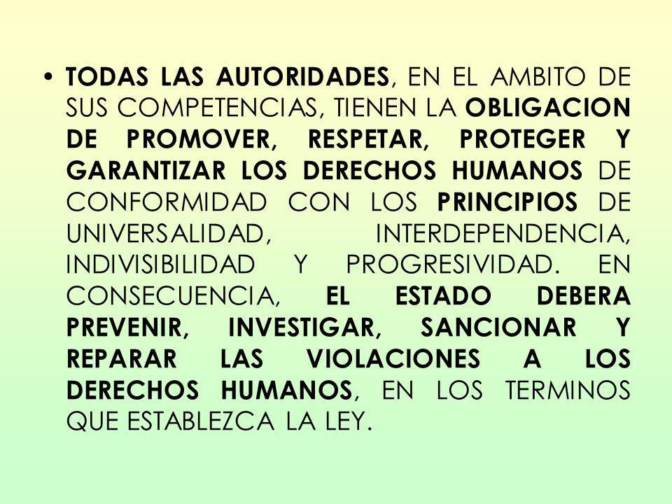 TODAS LAS AUTORIDADES, EN EL AMBITO DE SUS COMPETENCIAS, TIENEN LA OBLIGACION DE PROMOVER, RESPETAR, PROTEGER Y GARANTIZAR LOS DERECHOS HUMANOS DE CON
