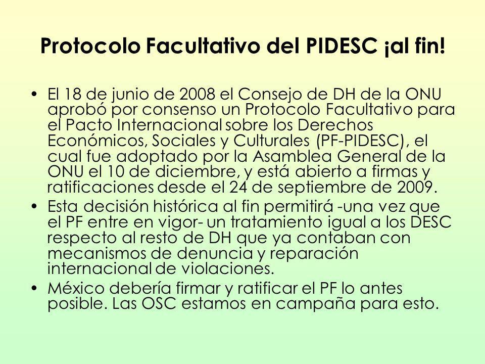 Protocolo Facultativo del PIDESC ¡al fin! El 18 de junio de 2008 el Consejo de DH de la ONU aprobó por consenso un Protocolo Facultativo para el Pacto