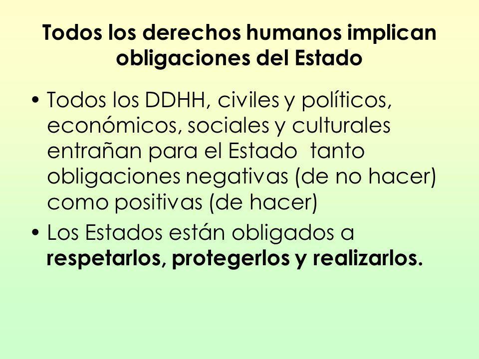 Todos los derechos humanos implican obligaciones del Estado Todos los DDHH, civiles y políticos, económicos, sociales y culturales entrañan para el Es