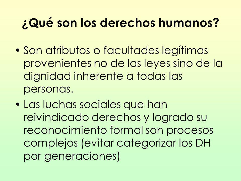 ¿Qué son los derechos humanos? Son atributos o facultades legítimas provenientes no de las leyes sino de la dignidad inherente a todas las personas. L