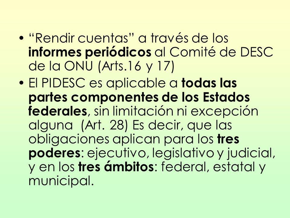Rendir cuentas a través de los informes periódicos al Comité de DESC de la ONU (Arts.16 y 17) El PIDESC es aplicable a todas las partes componentes de