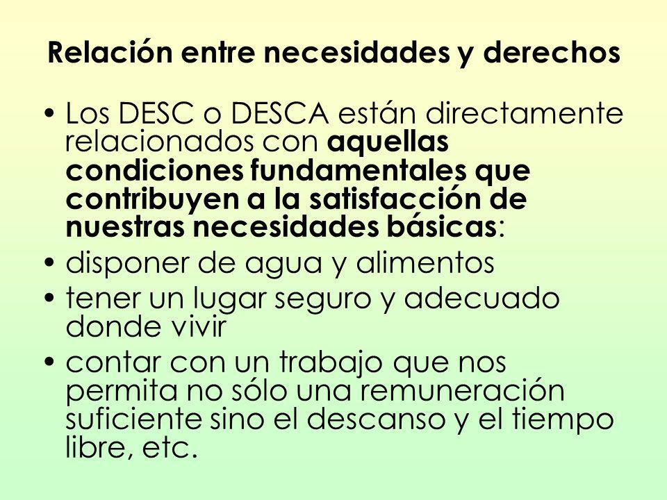 Relación entre necesidades y derechos Los DESC o DESCA están directamente relacionados con aquellas condiciones fundamentales que contribuyen a la sat