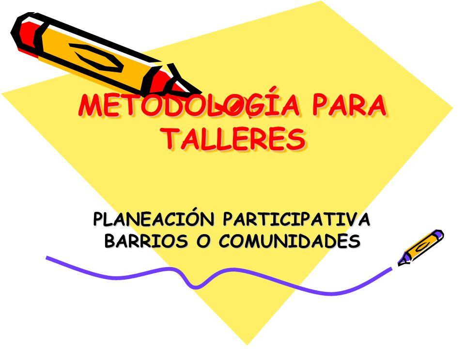 METODOLOGÍA PARA TALLERES PLANEACIÓN PARTICIPATIVA BARRIOS O COMUNIDADES