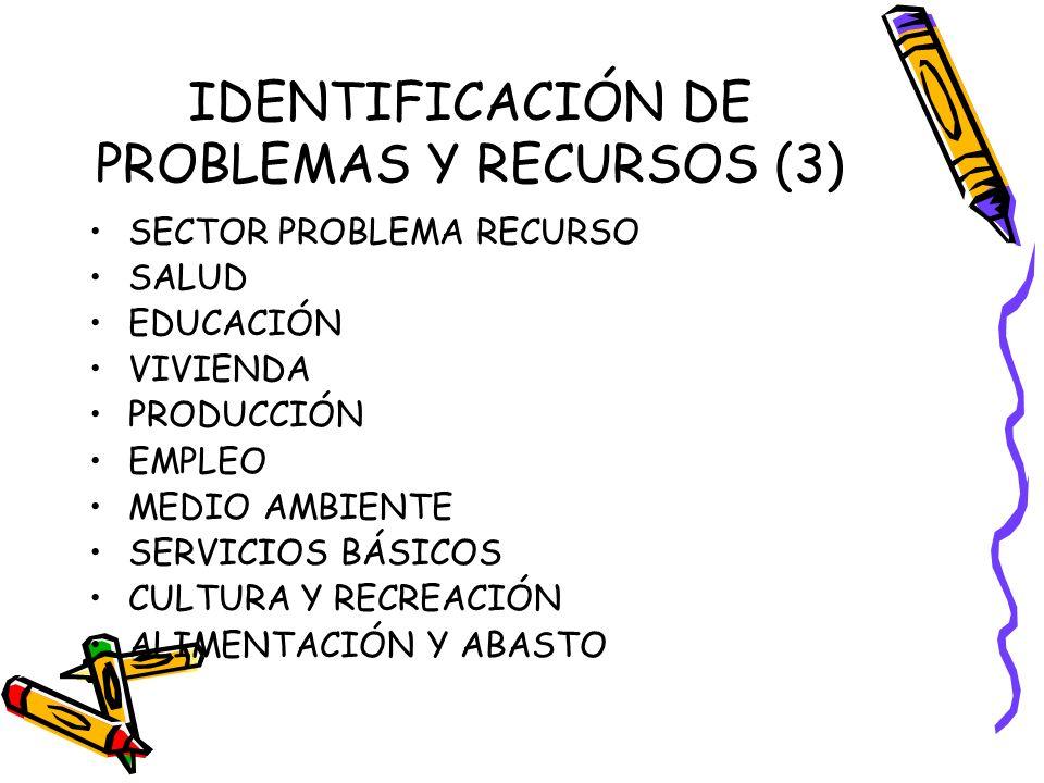 IDENTIFICACIÓN DE PROBLEMAS Y RECURSOS (3) SECTOR PROBLEMA RECURSO SALUD EDUCACIÓN VIVIENDA PRODUCCIÓN EMPLEO MEDIO AMBIENTE SERVICIOS BÁSICOS CULTURA