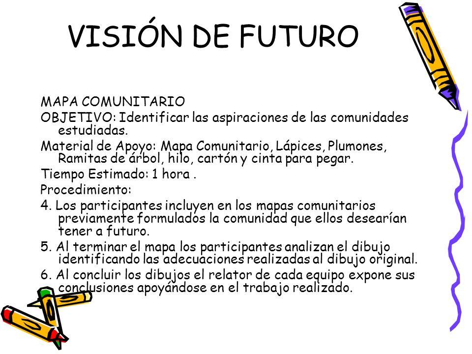 VISIÓN DE FUTURO MAPA COMUNITARIO OBJETIVO: Identificar las aspiraciones de las comunidades estudiadas. Material de Apoyo: Mapa Comunitario, Lápices,